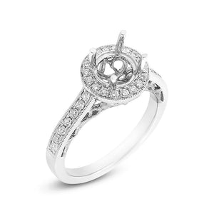 14k White Gold Diamond Semi-mount Ring for 1.00ct Center - 0.35ct