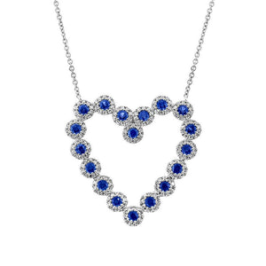 Diamond & 0.79ct Blue Sapphire 14k White Gold Heart Necklace
