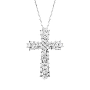 18k White Gold Diamond Cross Pendant - 0.95ct