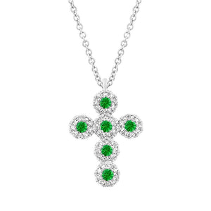 Diamond & 0.14ct Green Garnet 14k White Gold Cross Necklace - 0.12ct