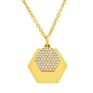 14k Yellow Gold Diamond Hexagon Pendant - 0.14ct