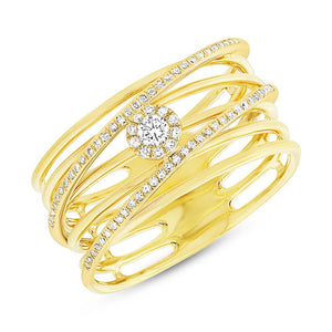 14k Yellow Gold Diamond Bridge Lady's Ring - 0.21ct