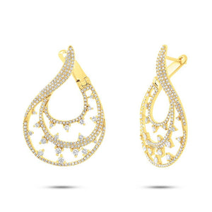 14k Yellow Gold Diamond Earring - 1.54ct