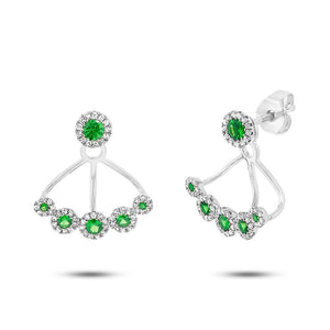 Diamond & 0.54ct Green Garnet 14k White Gold Earring Jacket with Studs
