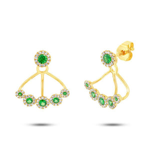 Diamond & 0.54ct Green Garnet 14k Yellow Gold Earring Jacket with Studs