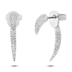 14k White Gold Diamond Ear Jacket Earring