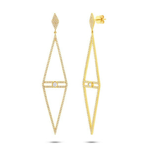 14k Yellow Gold Diamond Triangle Earring - 1.19ct