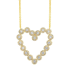14k Yellow Gold Diamond Heart Necklace - 1.15ct