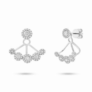 14k White Gold Diamond Earring Jacket with Studs