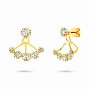 14k Yellow Gold Diamond Earring Jacket with Studs