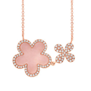 Diamond & 0.90ct Pink Opal 14k Rose Gold Flower Necklace - 0.23ct