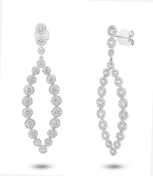 14k White Gold Diamond Earring - 2.95ct