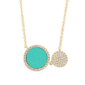 Diamond & 0.84ct Composite Turquoise 14k Yellow Gold Circle Necklace