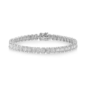 18k White Gold Diamond Baguette Bracelet - 4.00ct