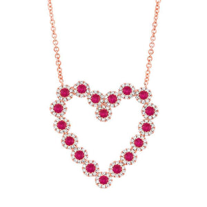 Diamond & 0.79ct Ruby 14k Rose Gold Heart Necklace