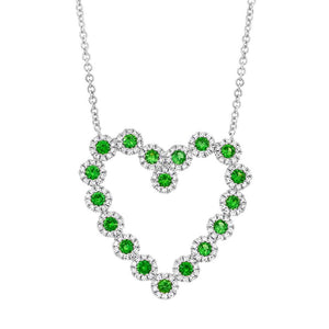 Diamond & 0.79ct Green Garnet 14k White Gold Heart Necklace - 0.55ct