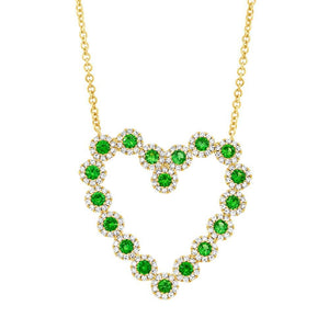 Diamond & 0.79ct Green Garnet 14k Yellow Gold Heart Necklace - 0.55ct