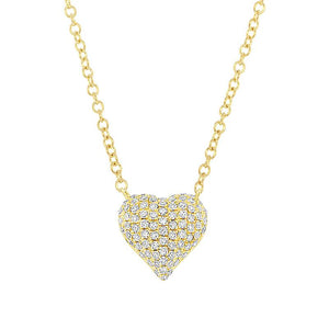 14k Yellow Gold Diamond Pave Heart Necklace - 0.19ct