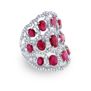 Diamond & 4.18ct Ruby 14k White Gold Ring - 1.04ct