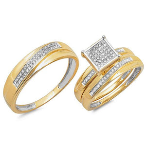 14k Yellow Gold Diamond Trio Set Pave - 0.26ct