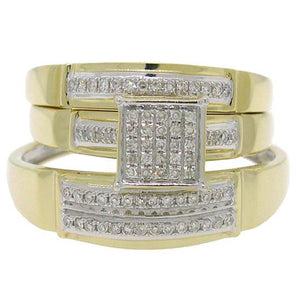 14k Yellow Gold Diamond Trio Set Pave - 0.22ct