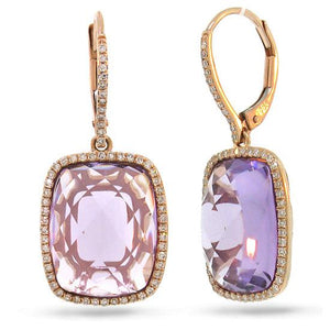 Diamond & 12.78ct Amethyst 14k Rose Gold Earring - 0.37ct