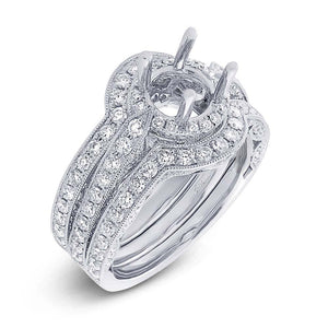 14k White Gold Diamond Semi-mount Ring 3-pc - 1.64ct