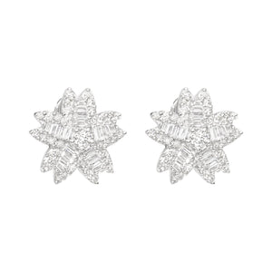 18K White Gold Earrings with Baguette and Round Diamonds