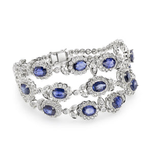 18K White Gold Blue Sapphire and Diamond Bracelet