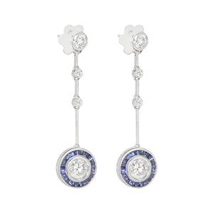18K White Gold Diamond & Blue Sapphire Earrings