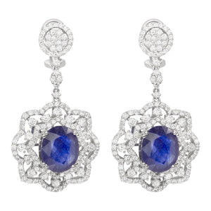 18K White Gold Diamond Blue Sapphire Earrings