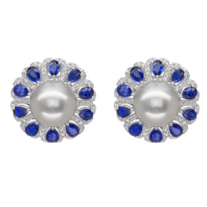 18K White Gold Pearl and Sapphire Earrings