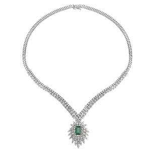 14K White Gold Diamond Emerald Necklace