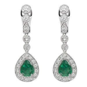 18K white Gold Diamond Emerald Earrings