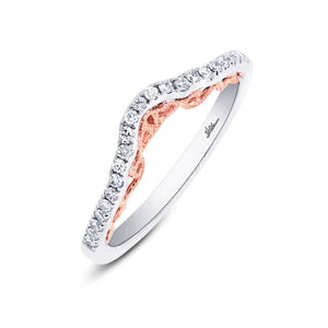 14k Two-tone Rose Gold Diamond Lady's Band - 0.17ct