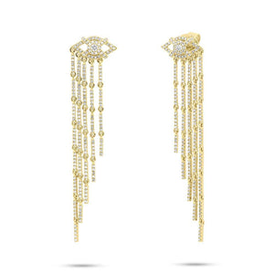 14k Yellow Gold Diamond Eye Fringe Earrings