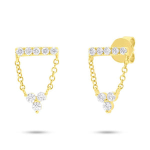 14k Yellow Gold Diamond Lady's Earrings