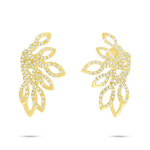 14k Yellow Gold Diamond Earrings