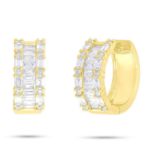 14k Yellow Gold Diamond Baguette Earrings