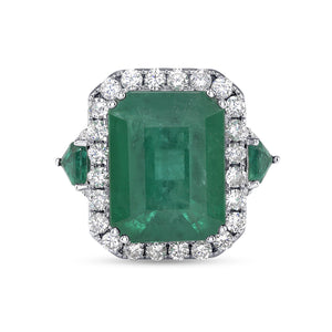 18K White Gold Colombian Emerald Lady's Ring