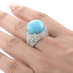 14K White Gold Diamond Turquoise Lady's Ring