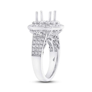 18k White Gold Diamond Semi-mount Ring Size 6.5 - 1.14ct