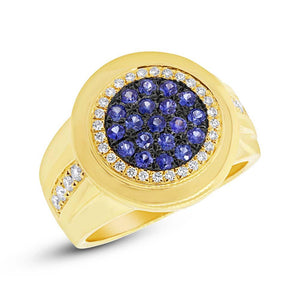 Diamond & 0.53ct Blue Sapphire 14k Yellow Gold Men's Ring Size 7 - 0.32ct