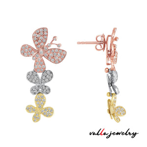 BUTTERFLY DROP EARRINGS TRI-COLOR