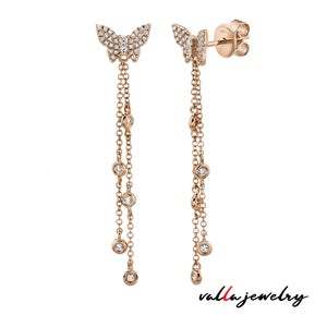 Butterfly Pave Diamond Dangling Earrings