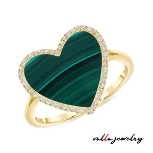 Green Malachita Heart Ring