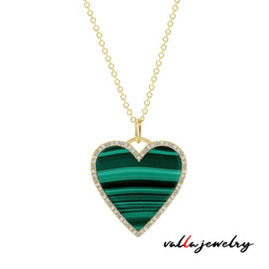 Green Malachite Heart Necklace