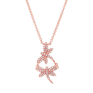 14k Rose Gold Diamond Dragonfly Necklace - 0.18ct