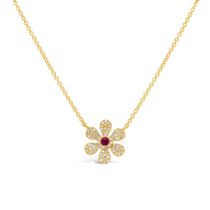 Flower Ruby and Diamond Necklace