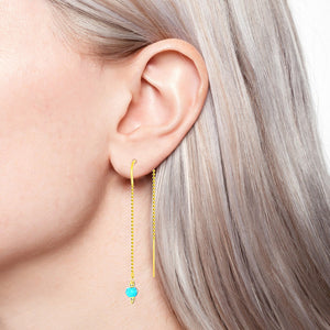 Trendy lariat earring 14k yellow gold with turquoise.